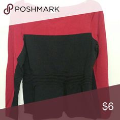 Cache peplum top Long sleeved Cache top.  Great for the office. 60% rayon 40% nylon. Red is much darker than in picture. Cache Tops Blouses