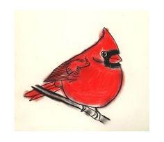 Bird Art print  4 for 3 SALE Little Cardinal  4 by matouenpeluche, $7.00
