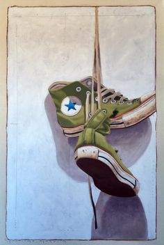 "Santiago Garcia, ""#1020"", 24 x 16, Oil & Acrylic on Canvas | Eisenhauer Gallery of Edgartown, MA #converse #realism #figurativeart #stilllife #shadows #eisenhauergallery"