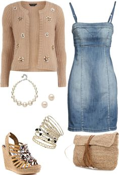 """Denim Dress! Embellished Shoes!"" by musicfriend1 on Polyvore"