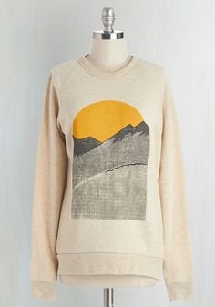 Alpine Shine Sweatshirt in Ecru. You pack this feel-good Kin Ship Goods sweatshirt every time you set out for a trek! #cream #modcloth