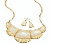 Gold Tone pearl accent plate bib necklace and earring set 29.00 USD