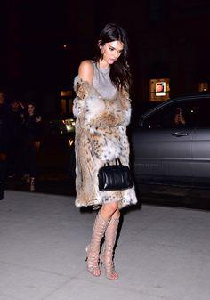 NEW YORK, NY - FEBRUARY 08:  Kendall Jenner arrives to Nobu New York on February…