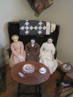 My Red Cape Tiny Dolls, Old Dolls, Antique Dolls, Vintage Dolls, Doll Display, Floor Cloth, Doll Quilt, Kewpie, Bear Doll