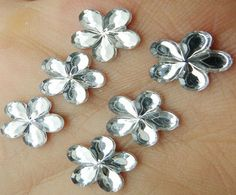 10 or 20 Silver flower flower center10mm flat back by jcraft4you