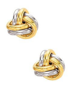 14K Gold Love Knot Stud Earrings by Royal Chain Group on @HauteLook