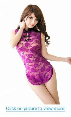 f5776af0fef Amazon.com  Black Temptation Womens XM016 Sexy Rose Chinese Cheongsam  Costume Medium Purple  Clothing