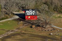The Rock City barn as seen from the Swing-Along Bridge at Rock City on Lookout Mountain in Walker County, Georgia, US