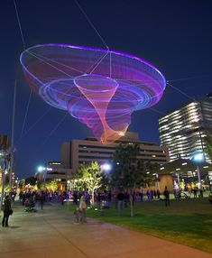 The aerial sculptural installations designed by artist Janet Echelman employs the use of fishing nets and was inspired by learned tricks from local fisherman in India.
