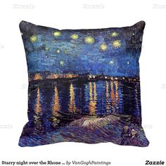 Starry night over the Rhone by Van Gogh Throw Pillow