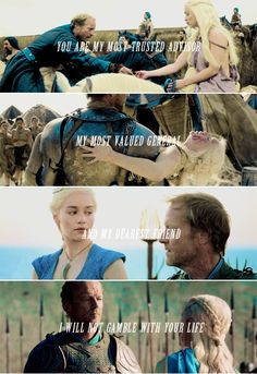 Ser Jorah Mormont + Daenerys Targaryen: I've been by your side longer than any of them, Khaleesi. Let me stand for you today as well. #got #asoiaf