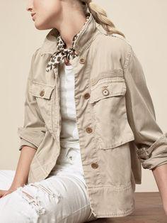J.Crew Looks We Love: women's garment-dyed safari shirt-jacket, vintage cotton T-shirt, vintage crop jean in destroyed white and leopard bandana.