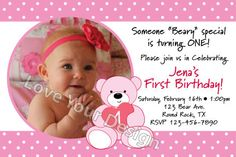 Pink Teddy Bear Birthday Invitation with photo - jpeg file for printing