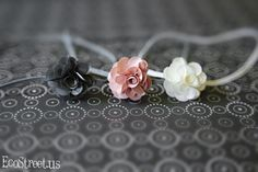 Three Baby Headbands, Newborn Headband in White Cream, Pink and Gray, Great for Photo Prop