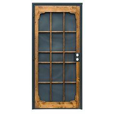 LOVE this security door! Amazon. Woodguard Steel Security Door, Bronze, 36-in x 80-in, Oak Stain,