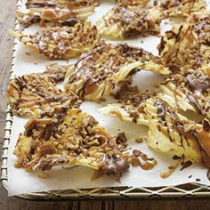 Chocolate, Caramel, Pecan potato chips.