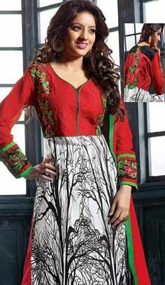 Latest Indian White Red Cotton Churidar A Line Suit