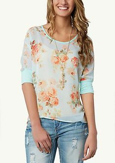 image of Floral Chiffon Dolman Top