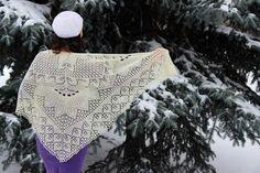 Shawl Wedding Lace Knitted Ivory Merino Wool Triangular Scarf
