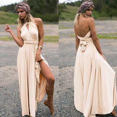 Summer Sexy Women Maxi Dress Red Beach Long Dress Multiway Bridesmaids Convertible Wrap Dresses Robe Longue