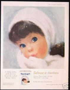 Northern Toilet Paper Ad C Northern Girl I remember having this print hanging in my bedroom as a little girl. Old Advertisements, Retro Advertising, Retro Ads, Vintage Ads, Vintage Posters, Vintage Food, Vintage Style, Northern Girls, My Childhood Memories