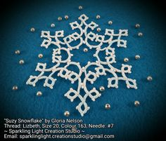 tatted snowflake with pattern