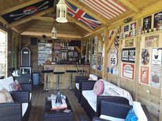 Under the Superior Modified Gazebo Man Cave Garage, Man Cave Shed, Garage Bar, Man Shed Bar, Garage Attic, Diy Home Bar, Home Pub, Bars For Home, Cave Bar