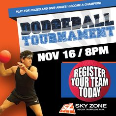 The next Dodgeball Tournament at Sky Zone Roswell is November 16! Are you ready to dominate?? Click here to buy your tickets- hurry before we sell out: ---> http://socialon.me/r/5 #skyzoneroswell #skyzone #fun #jump #roswell #georgia  #bounce #kids #teenagers #trampoline #picoftheday #instagood #play #fitness #health #foampit #exercise #jumphigh #openjump  #gymnastics #tumbling #workout #fit #fitness #trampoline #birthdayparty (678) 745-9900 1425 Market Blvd. Suite 100-A Roswell, GA 30076