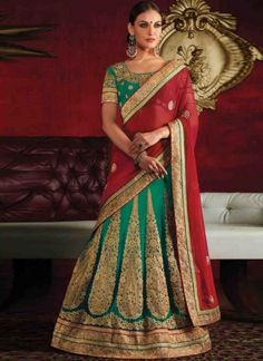 Radiant Red Sea Green Embroidery Work Net Georgette Wedding Lehenga Sarees http://www.angelnx.com/Sarees