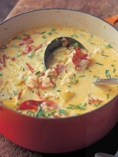 Lobster Corn Chowder by Patti B – Key Ingredient Lobster Bisque. The best of the ocean — and the kitchen — fits in one little bowl. As rich and delicious as lobster bisque soup can be, it's a lobster bisque recipe that beats all. Seafood Dishes, Seafood Recipes, Lobster Recipes, Chowder Recipes, Lobster Dishes, Fish Recipes, Chicken Recipes, Best Ina Garten Recipes, Ina Garten Crab Cakes Recipe