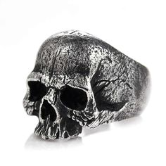 Warrior Skull Ring Sterling Silver Mens Biker Ring