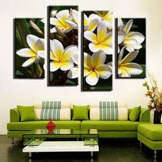 Unframed 4 Panel Yellow With White Egg Flower Wall Art Picture Modern Home Wall…