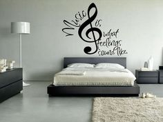 Teenager Girl Bedroom with Music Theme Wallpaper