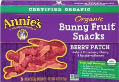 Annie's Homegrown Berry Patch Organic Bunny Fruit Snacks,0.8 oz., 5-Count Pouches (Count of 4)