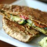 Perry's Plate » Grilled Zucchini and Ham Pita Panini with Basil Hummus