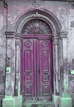 Old Purple door on Cyprus Island, Europe. Cool Doors, Unique Doors, Purple Door, Porches, When One Door Closes, Door Gate, Grand Entrance, Closed Doors, Door Knockers