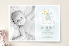 Night Owl Birth Announcements by Robin Ott Birth Announcement Photos, Birth Announcements, Cute Fonts, Paper Supplies, Night Owl, Custom Stamps, Photo Cards, Your Cards, First Love