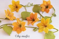 Garland large flowers pumpkin autumn felt garland window door mafiz