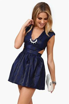 Fall Cut Out Dress in Navy