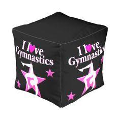 PRETTY PINK I LOVE GYMNASTICS DESIGN CUBE POUF http://www.zazzle.com/mysportsstar/gifts?cg=196751399353624165&rf=238246180177746410 #Gymnastics #Gymnast #IloveGymnastics #WomensGymnastics #Personalizedgymnast