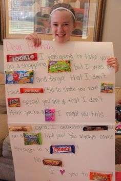 gymnasticsmmeet candy poster | She received this super cute candy-gram from her best friend Kate.