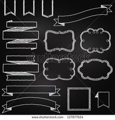 Vector Collection of Chalkboard Style Banners, Ribbons and Frames - stock vector