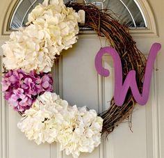 hydrangea monogram wreath - Click image to find more home decor Pinterest pins
