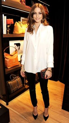 Crisp white button down, black skinnies, pumps