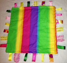 Multi Color Minky tag blanket by CashAndCari on Etsy, $15.00