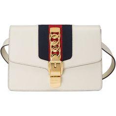 Gucci Sylvie Leather Belt Bag ($1,835) ❤ liked on Polyvore featuring bags, belt bag, handbags, women, waist bag, waist fanny pack, leather belt bag, real leather belts and leather bag belt