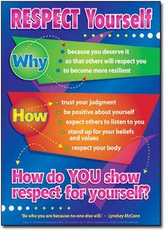 Respecting Yourself. Self-esteem Posters.  #PeerEducation #HealthAndWellness