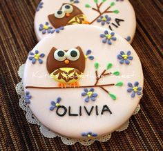 Owl Sugar Cookies - Owl Cookies - Personalized Owls - Party Favors Kids Birthday - Pink Owl Birthday