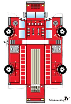 A fire truck to cut Fireman Party, Firefighter Birthday, Paper Crafts For Kids, Diy For Kids, Paper Model Car, Free Paper Models, Paper Toys, Fire Trucks, Paper Cutting
