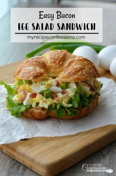 Easy Bacon Egg Salad Sandwich is the BEST EVER! The bacon adds a yummy smokey flavor. This classic recipe is quick and easy to make and is always a huge hit!